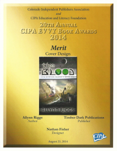 2014 EVVY Merit for Cover Design - The Blood